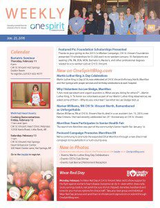 January 25 OneSpirit Weekly