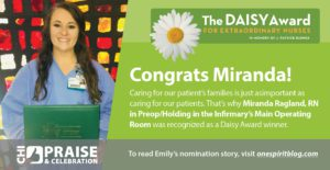 Miranda Ragland Named DAISY Award Winner at Infirmary